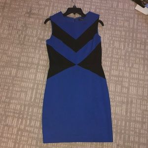 Black and blue fitted dress